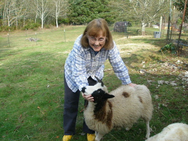 Cindy with Jacob Sheep